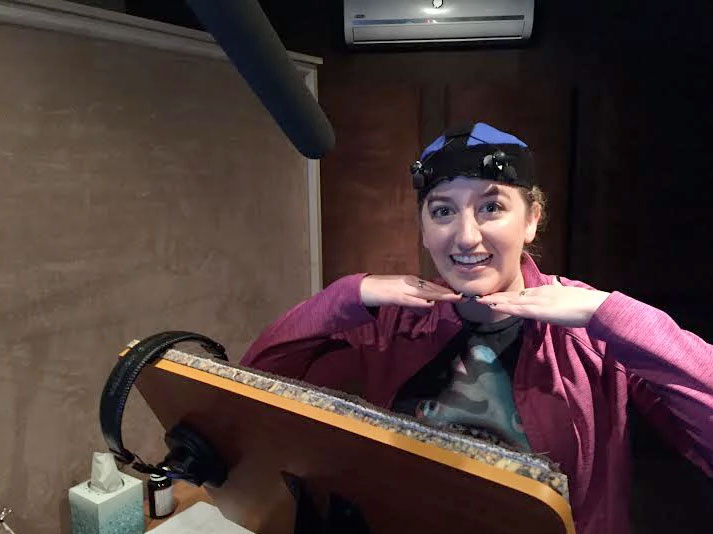 Alexa Rose recording voice over at Formosa